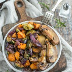 Steakgomba sült zöldségekkel