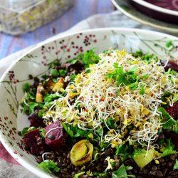 Feketelencse-saláta csírával