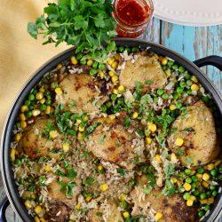 Jamaicai csirkecomb mediterrán rizzsel