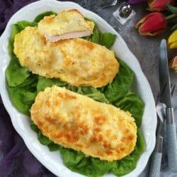 Sonkás-karfiolos-tojáskrémes csirkemell